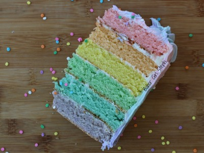 PASTEL RAINBOW CAKE WITH OMBRE FROSTING