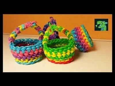 Picnic Basket. Easter Basket Rainbow Loom Hook only by Cheryl Mayberry AKA Willowcreat