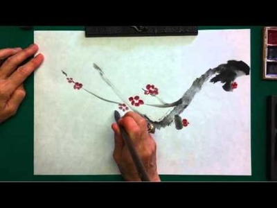 Sumi painting demonstration of plum blossom