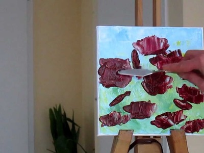 Tanja Bell  How to Paint Flowers Poppies Tutorial Palette Knife Painting Technique Lesson Demo