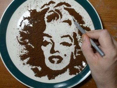 Drawing with Coffee Grounds - Marilyn Monroe Food Art