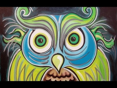 Funky OWL painting SPEED ART by RAEART