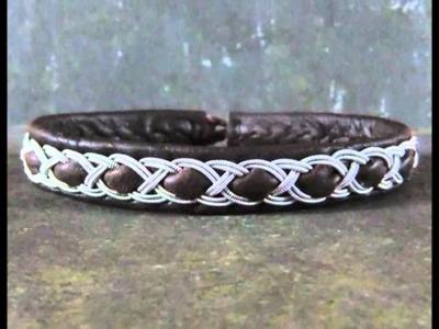 Hamespun Sami and Celtic inspired leather and pewter bracelets
