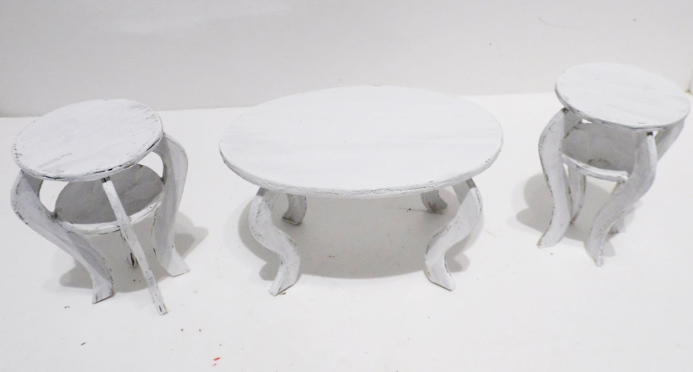 How to Make: Doll Shabby Chic Coffee Table & Chairs