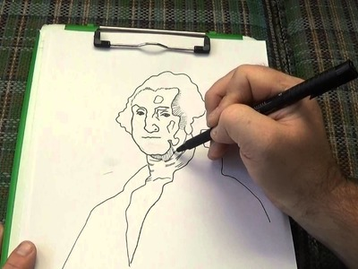 Pen and Ink Crosshatching Drawing George Washington using tracing paper
