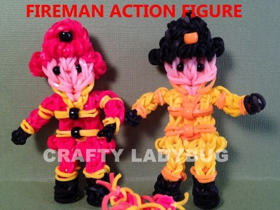 Rainbow Loom FIREMAN FRED ACTION FIGURE How to Make by Crafty Ladybug