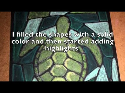 Stained Glass Turtle Painting with oil pastels