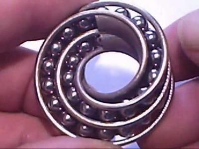 Twin Rail Mobius pendant with balls! - 3D printed metal @shapeways