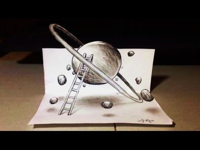 3D Planet on my Paper! Draw ' Illusion