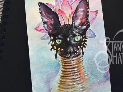 Cat Goddess & some Black-paper and Moleskine Sketches