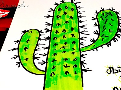 DIY How to draw a CACTUS Easy - Simple Cartoon Cactus | draw easy stuff but cool | SPEED ART #1.2