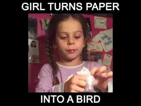 Girl Turns Paper Into a Bird