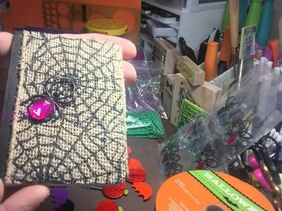 Halloween mini composition books and honeycomb paper clips
