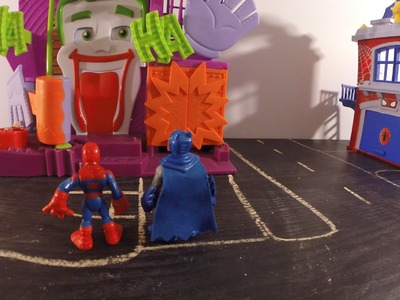Mini super heroes Batman and Spider-man toilet paper Joker's Fun House