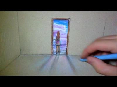 Open Door in my paper - art Drawing
