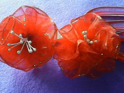 DIY-Cara membuat bunga mawar besar dari pita organdi-How to make a great roses of organdy ribbon