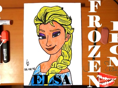 DIY How to draw ELSA from FROZEN FEVER Easy DISNEY,draw easy stuff but cool.cute on paper|SPEED ART