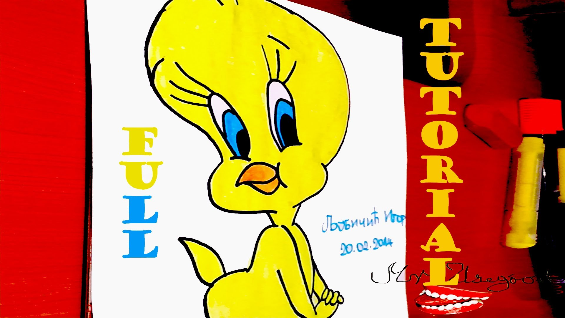 DIY How to draw Tweety Bird Step by Step Easy for kids - Looney Tunes cartoons, FULL