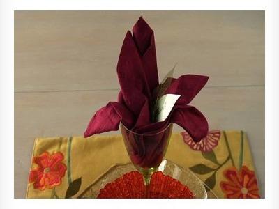 Easy Napkin Design - Lily Flower Napkin