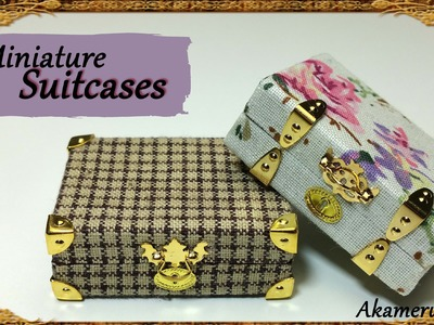 Miniature vintage inspired Suitcases - Polymer clay.Fabric Tutorial