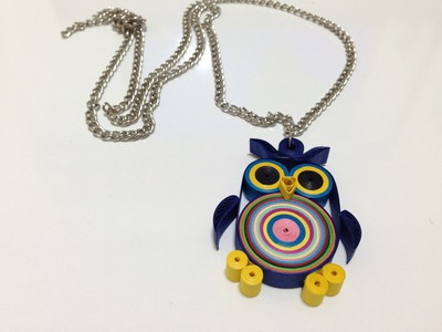 Paper Quilling Necklace - Quilled Owl Necklace - For Beginners