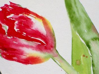 Tulip Watercolor Painting Tutorial for Beginners
