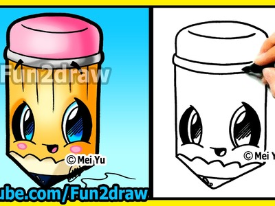 Back to School Cutie! How to Draw Easy Things - Pencil - Cartoon drawing tutorials Fun2draw kawaii