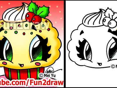 Christmas Desserts - How to Draw a Christmas Cupcake with Holly - Fun2draw food