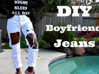 DIY Distressed Boyfriend Jeans | Nasty Gal Inspired | Tashalala