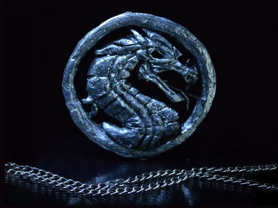 DIY: How to make Mortal Kombat X. logo pendant from polymer clay tutorial