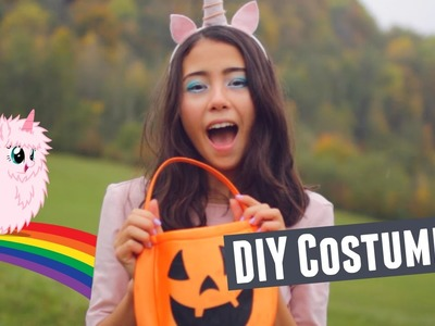 DIY Pink Fluffy Unicorn Halloween Costume Idea