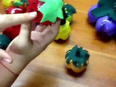 Frutas hechas de botellas pet