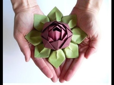 Origami lotus tutorial - how to make paper lotus