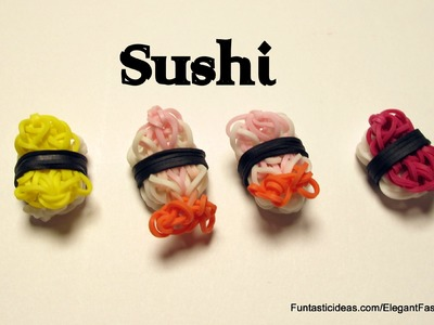 Rainbow Loom 3D Sushi Shrimp charm - How to - Food Series