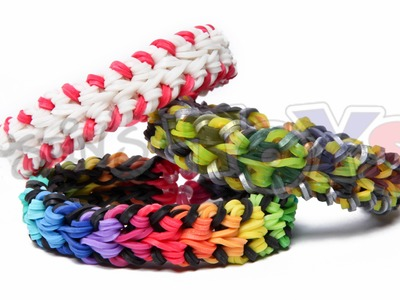 Rainbow Loom - Baseball Stitch Bracelet - Double Over and Under