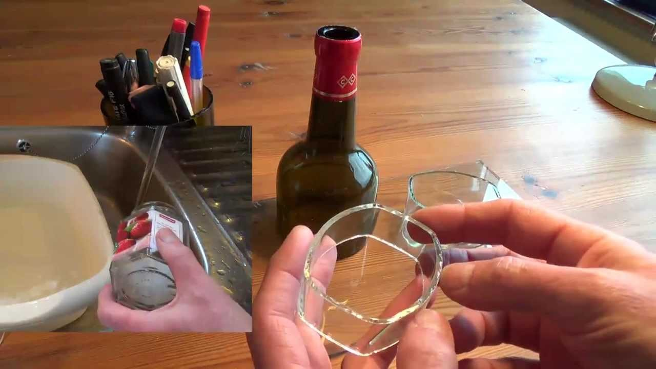 Cutting glass bottles into rings easily with thermal stress