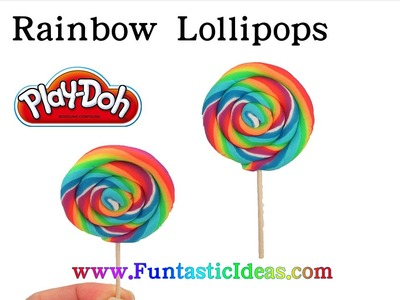 DIY Rainbow Lollipops Swirl Candy Play Doh - How to playdough tutorial by Funtastic Ideas