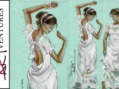 Natalie Dormer for Vanity Fair White sheer dress part 1: Advanced Fashion Design Drawing Tutorial