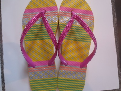 Putting rhinestones on flip flops