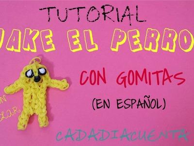 Tutorial de Como hacer JAKE EL PERRO de Hora de aventuras en telar rainbow loom con gomitas(ESPAÑOL)