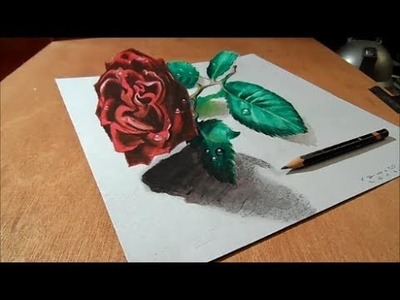 Drawing a 3D Red Rose, Time Lapse