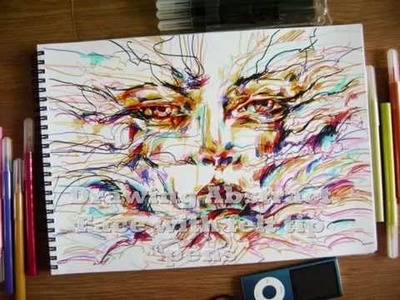 Drawing abstract surreal portrait with felt tip pens