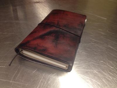 Dying Leather for DIY Midori Fauxdori Traveler's Notebook