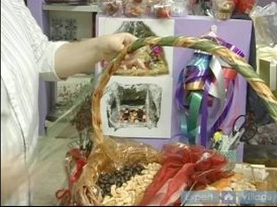 How To Make Elegant Gift Baskets : How To Add a Second Ribbon To A Gift Basket Handle