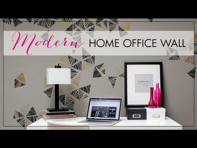How to Stencil Tutorial - Paint a Modern Home Office Accent Wall