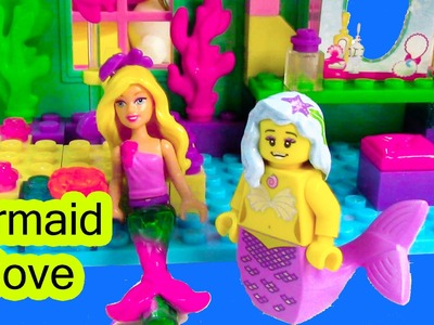 Mermaid Barbie Underwater Cove Home Playset Mini Doll Mega Bloks Lego Toy Opening
