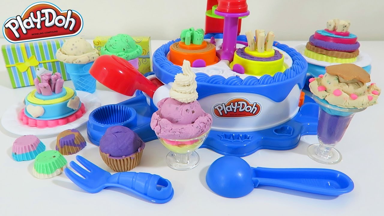 Play Doh Cake and Ice Cream Confections HUGE Play Dough Playset 40+ Accessories Cupcake Desserts!