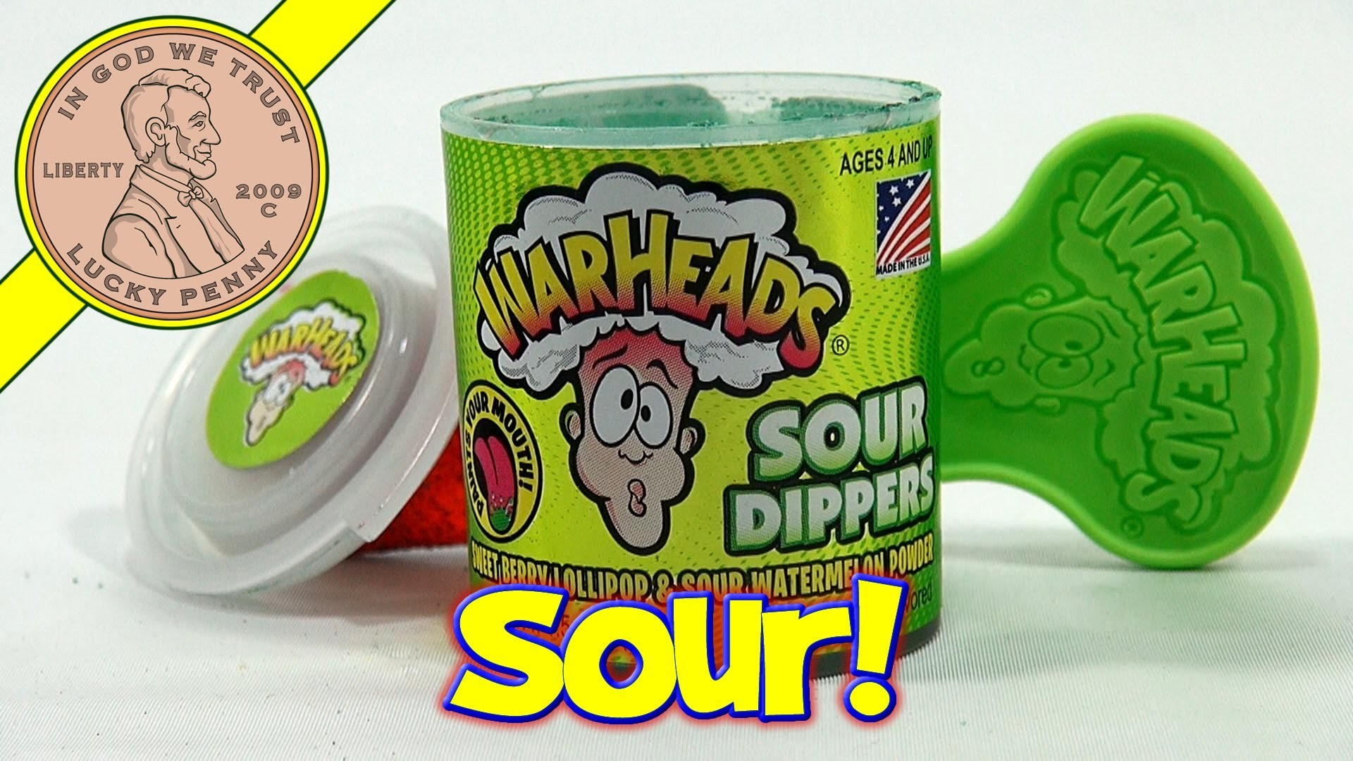 War Heads Sour Dippers Candy - Sweet Berry Lollipop Sour Watermelon Powder