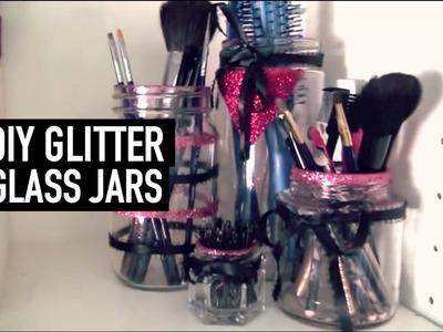 DIY Glitter Glass Jar Organizers