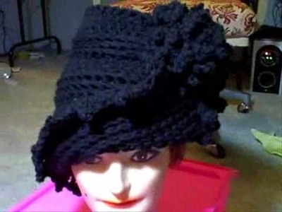 How to Wear the LAUREN Unique Crochet Cloche Hat with Flower in Black